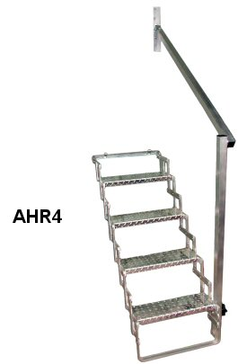 Made In USA Aluminum Hand Rail For 4 Step Scissor Stair / AHR4